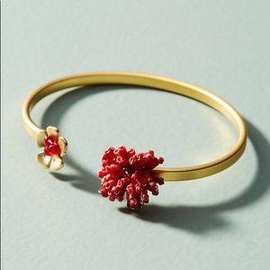 Anthropologie Coralina Flower Cuff Bracelet